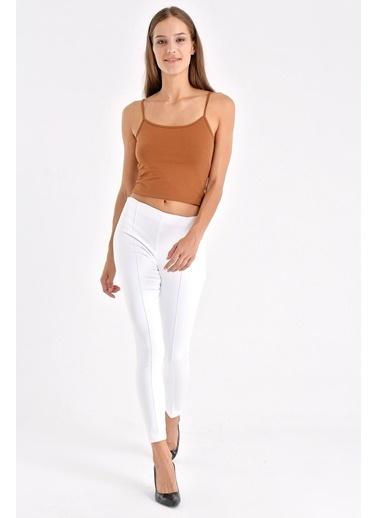 Jument Ön Arka Dikişli Dar Paça Tayt Pantolon - Beyaz Beyaz